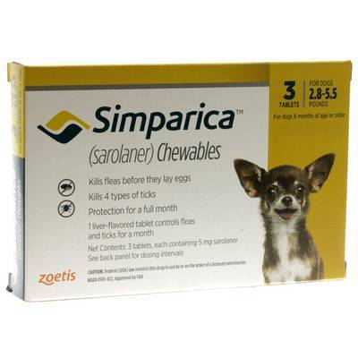 Simparica Chewables for Dogs 2.8-5.5 lbs, 3 Month Supply