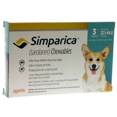 Simparica Chewables for Dogs 22.1 - 44 lbs, 3 Month Supply