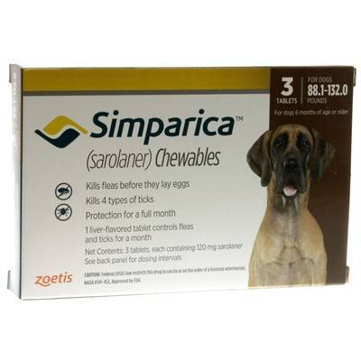 Simparica Chewables for Dogs 88.1 - 132 lbs, 3 Month Supply