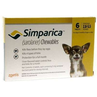 Simparica Chewables for Dogs 2.8 - 5.5 lbs, 6 Month Supply
