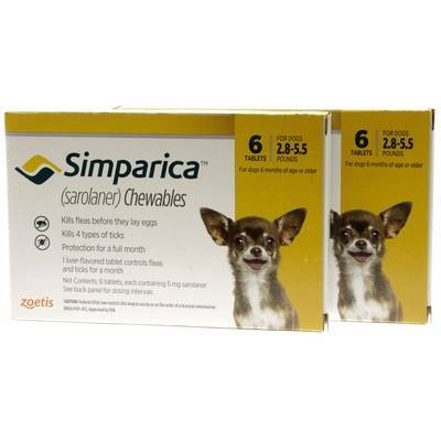 Simparica Chewables for Dogs 2.8 - 5.5 lbs, 12 Month Supply