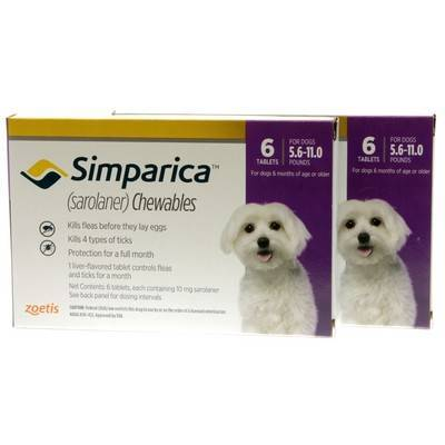 Simparica Chewables for Dogs 5.6 - 11 lbs, 12 Month Supply