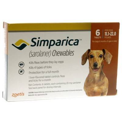 Simparica Chewables for Dogs 11.1 - 22 lbs, 6 Month Supply
