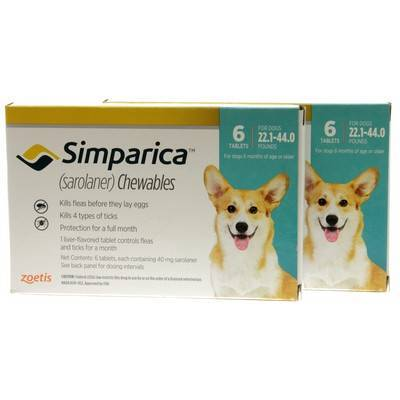Simparica Chewables for Dogs 22.1 - 44 lbs, 12 Month Supply