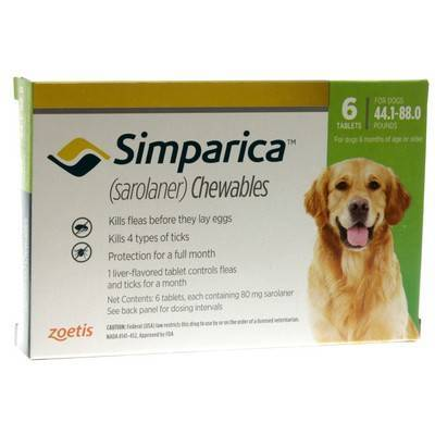 Simparica Chewables for Dogs 44.1 - 88 lbs, 6 Month Supply