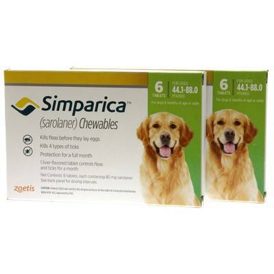 Simparica Chewables for Dogs 44.1 - 88 lbs, 12 Month Supply