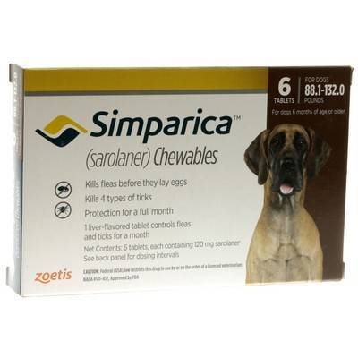 Simparica Chewables for Dogs 88.1 - 132 lbs, 6 Month Supply