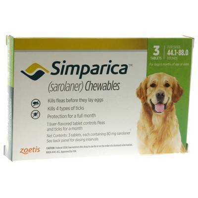 Simparica Chewables for Dogs 44.1 - 88 lbs, 3 Month Supply