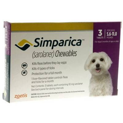 Simparica Chewables for Dogs 5.6 - 11 lbs, 3 Month Supply