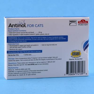 Antinol - for Cats, 30 SoftGel Capsules Directions for Use