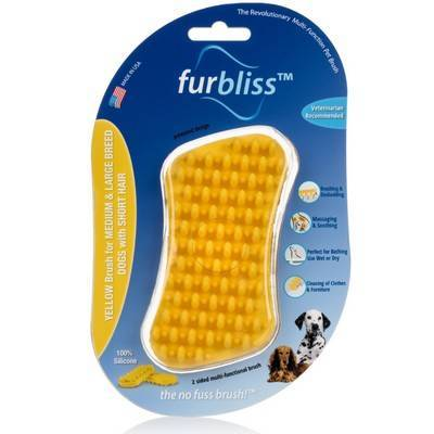 Furbliss - Yellow Brush for Large Dogs with Short Hair