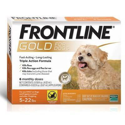 Frontline Gold - for Dogs 5-22lbs, 6 Monthly Dose