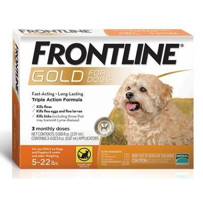 Frontline Gold - for Dogs 5-22lbs, 3 Monthly Doses