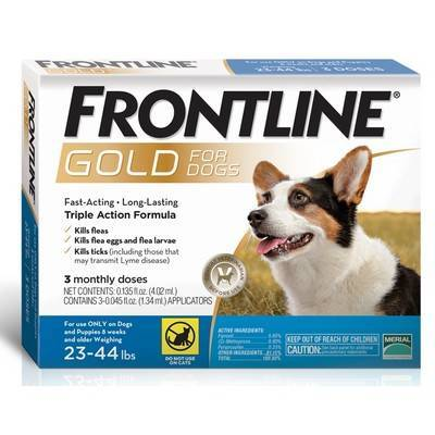Frontline Gold - for Dogs 23-44lbs, 3 Monthly Doses