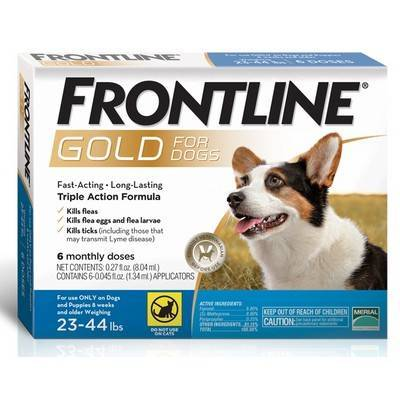 Frontline Gold - for Dogs 23-44lbs, 6 Monthly Doses