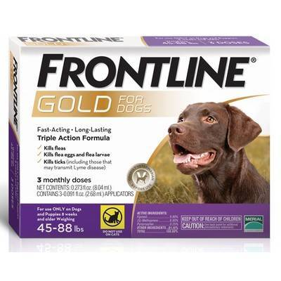 Frontline Gold - for Dogs 45-88lbs, 3 Monthly Doses