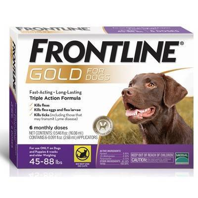 Frontline Gold - for Dogs 45-88lbs, 6 Monthly Doses