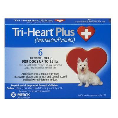 Tri-Heart Plus Chewable Tablets for Dogs - Up to 25 lbs, 6 Month Supply