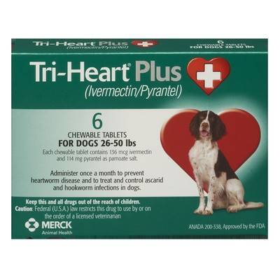 Tri-Heart Plus Chewable Tablets for Dogs - 26-50 lbs, 6 Month Supply