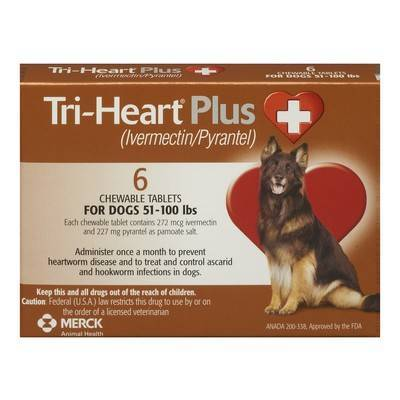 Tri-Heart Plus Chewable Tablets for Dogs - 51-100 lbs, 6 Month Supply