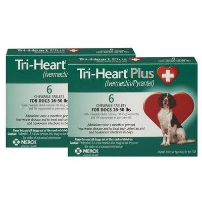 Tri-Heart Plus Chewable Tablets for Dogs - 26-50 lbs, 12 Month Supply