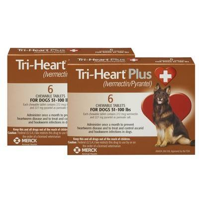 Tri-Heart Plus Chewable Tablets for Dogs - 51-100 lbs, 12 Month Supply