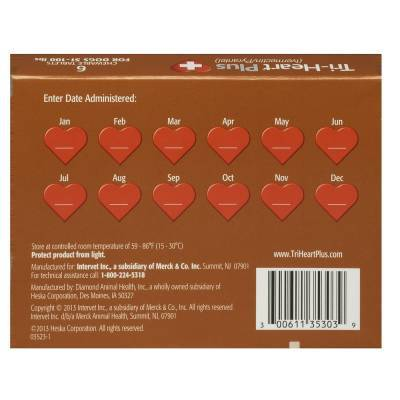 Tri-Heart Plus Chewable Tablets for Dogs - 51-100 lbs, Back Label