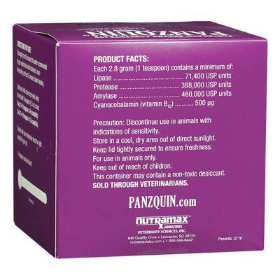 Panzquin for Dogs and Cats Pancreatic Enzyme Concentrate Ingredients