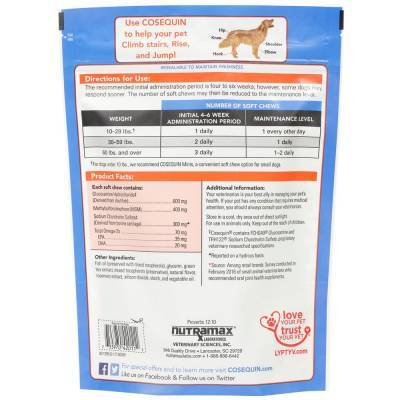 Cosequin Soft Chews MSM Plus Omega-3s for Dogs Label - 150ct