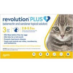 Revolution PLUS (selamectin + sarolaner) for Cats - 2.8-5.5lbs, 3 Month Supply