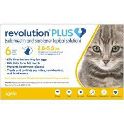 Revolution PLUS (selamectin + sarolaner) for Cats - 2.8-5.5lbs, 6 Month Supply