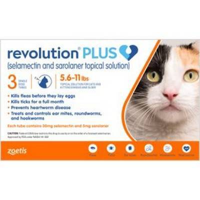Revolution PLUS (selamectin + sarolaner) for Cats - 5.6-11lbs, 3 Month Supply