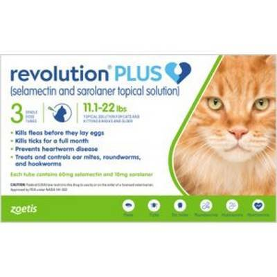 Revolution PLUS (selamectin + sarolaner) for Cats - 11.1-22lbs, 3 Month Supply