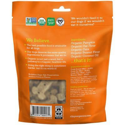 Riley's Organic Dog Treats - Large, Pumpkin and Coconut Ingredients