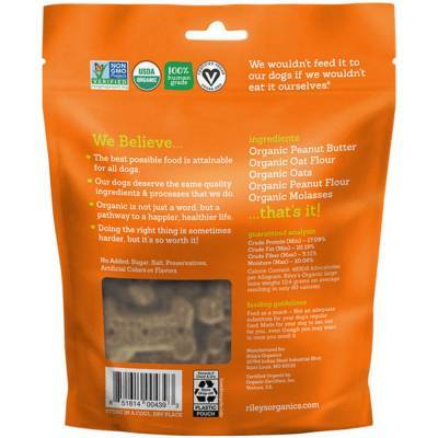Riley's Organic Dog Treats - Large, Peanut Butter and Molasses Ingredients