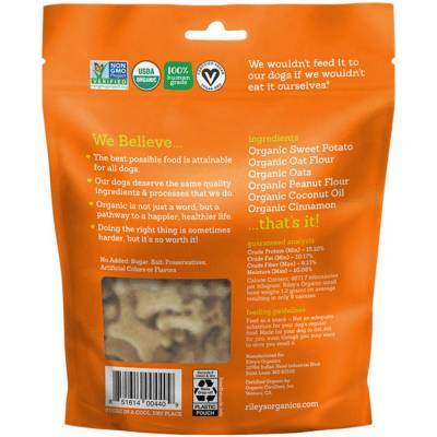 Riley's Organic Dog Treats - Small, Sweet Potato Ingredients