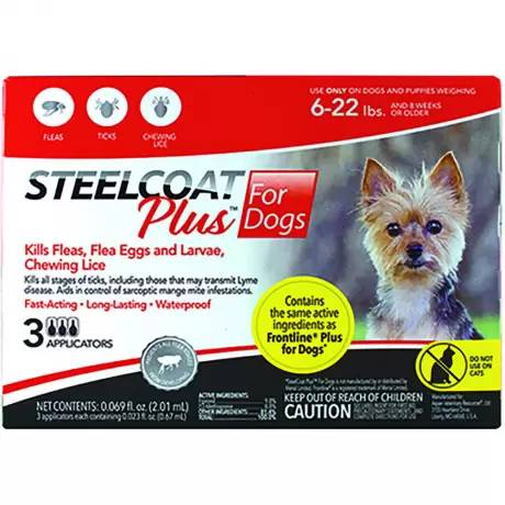 Steelcoat Plus for Dogs Kills Fleas and Ticks - 6-22 lbs, 3 Month Supply