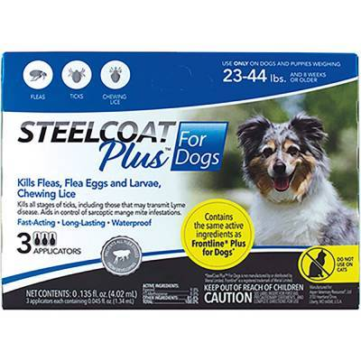 Steelcoat Plus for Dogs - 23-44 lbs, 3 Month Supply Kills Fleas and Ticks