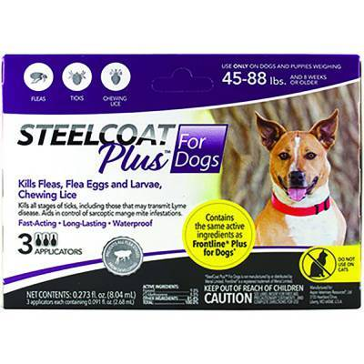 Steelcoat Plus for Dogs - 45-88 lbs, 3 Month Supply Kills Fleas and Ticks