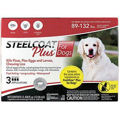 Steelcoat Plus for Dogs - 89-132 lbs, 3 Month Supply Kills Fleas and Ticks
