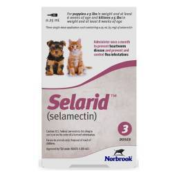 Selarid (selamectin) - 3 Doses for Puppies and Kittens 5lbs and under