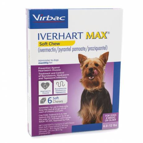 Iverhart Max Soft Chews for Dogs - 6.0-12lbs, 6 Month Supply Heartworm Prevention Dewormer