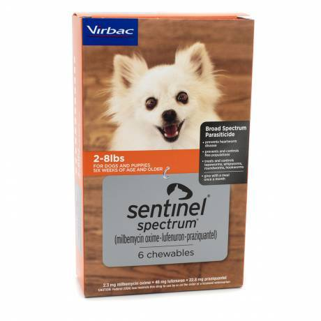 Sentinel Spectrum for Dogs - 2-8 lbs, 6 Month Supply Heartworm and Flea Preventative Dewormer