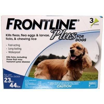 Frontline Plus for Dogs 23 to 44lbs 3 Doses