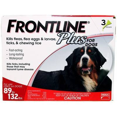 Frontline Plus for Dogs 89 to 132lbs 3 Doses