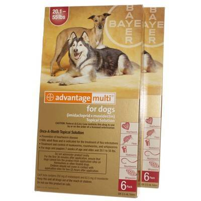 Advantage Multi for Dogs 20.1-55 lbs, 12 Doses