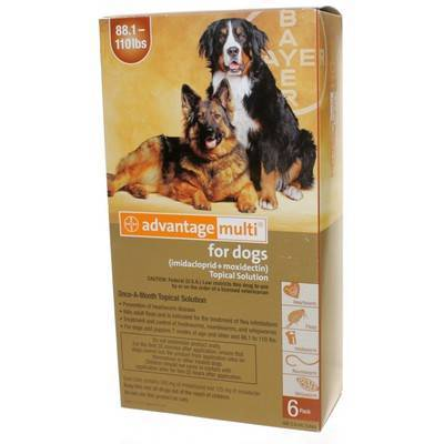 Advantage Multi for Dogs 88.1-110 lbs, 6 Doses