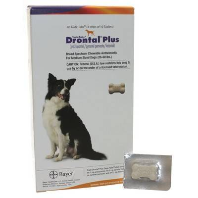 Drontal Plus Taste Tabs for Dogs Dewormer 68mg