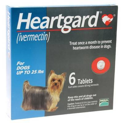 Unflavored Heartgard for Dogs up to 25lbs 6 Tablets