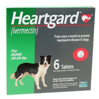 Unflavored Heartgard for Dogs 26 to 50lbs 6 Tablets